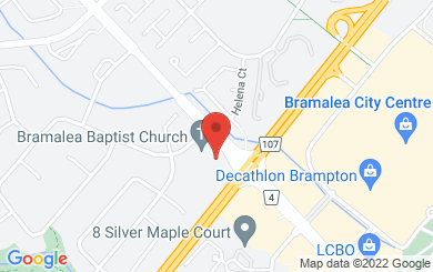 Map to Bramalea Baptist Church in Brampton, ON